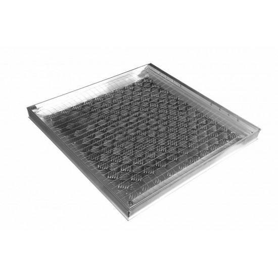 Aluminum floor hatch for indoor and outdoor use 100cm x 100 cm