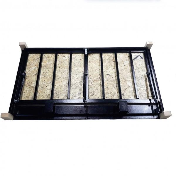 Floor steel access door size 70 cm x 140 cm H with OSB panel for wood flooring