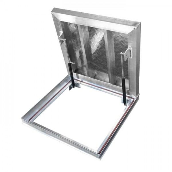 Aluminum unfilled floor hatch for indoor and outdoor use 90cm x 90 cm