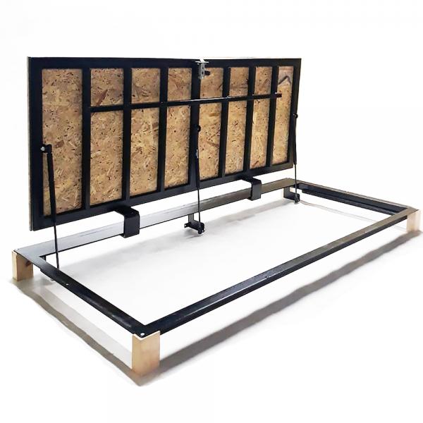 Floor steel access door size 80 cm x 150 cm H with OSB panel for wood flooring