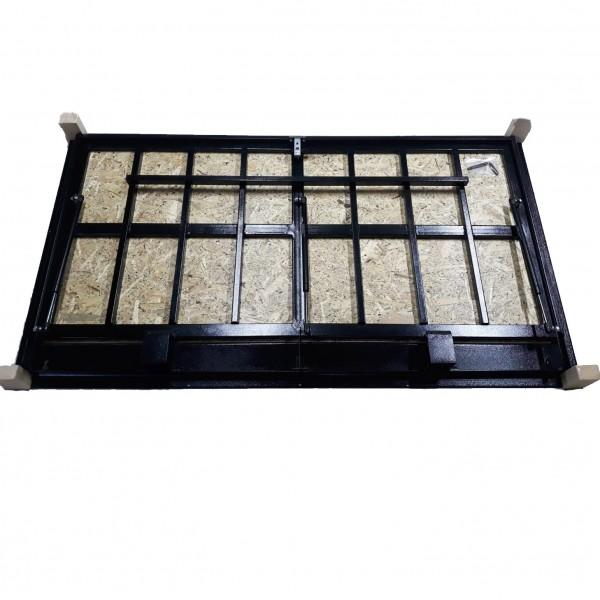 Floor steel access door size 70 cm x 150 cm H with OSB panel for wood flooring