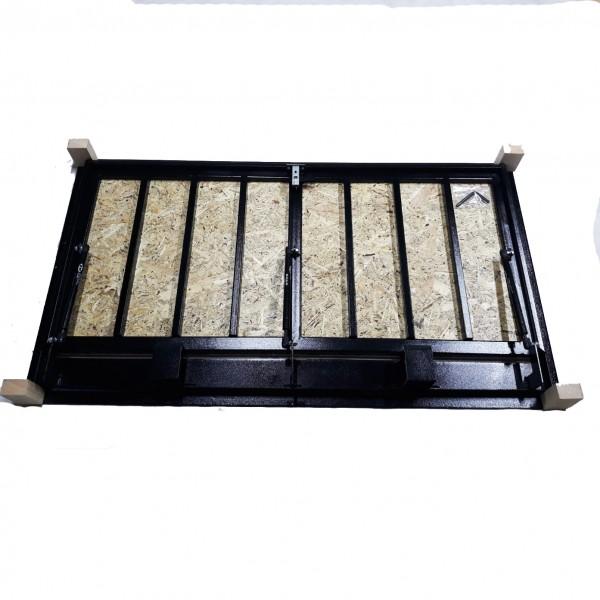 Floor steel access door size 80 cm x 130 cm H with OSB panel for wood flooring
